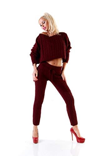 OSAB-Fashion 11062 Damen Hosenanzug Strickanzug 2-teilig Zopfmuster Bauchfrei-Pullover Leggings