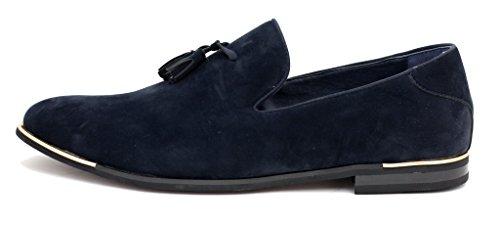 neuf de marque pour hommes Chaussures Daim À Enfiler Gland Mocassins Mode élégant Vêtement Décontracté taille UK Bleu Marine