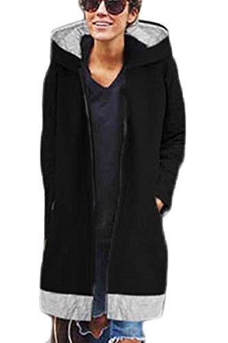 Le Donne Una Zip Cappuccio Pussybow Mosaico Solido Inverno Caldo Gli Outwear Black