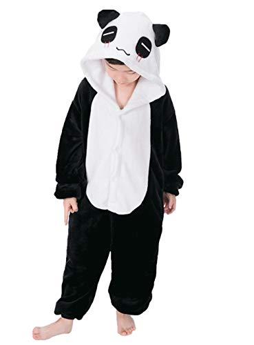 DATO Kinder Pyjamas Tier Panda Overall Flanell Cosplay Kostüm Kigurumi Jumpsuit für Mädchen und Jungen Hohe 90-148 cm