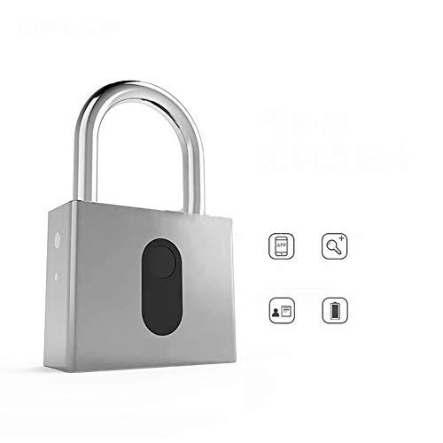 ZLQF Sicherheit Fingerprint Padlock Wetterfest Geeignet für Haus Tür, Rucksack, Koffer, Fahrrad, Fitnessstudio, Büro,Silver