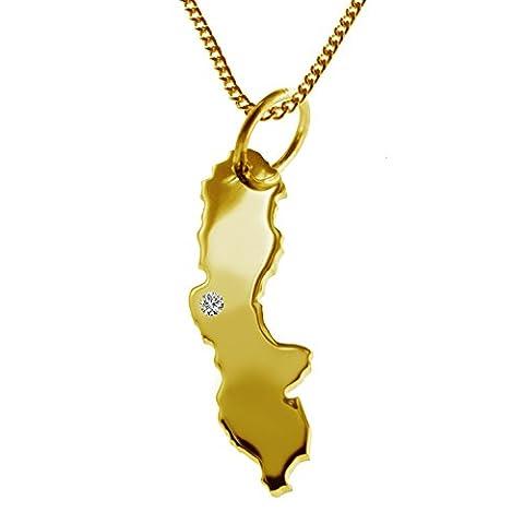 Exklusiver SCHWEDEN Landkartenanhänger mit BRILLANT an Ihrem Wunschort (Position wählbar!) - inkl. Kette - massiv 585 GELB-GOLD, deutsche Handwerkskunst - 585er GOLD-SCHMUCK