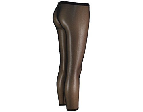 BONAMART ® Damen Sexy Hipster Transparent Lycra Leggings Leggins Hose Lang Schwarz
