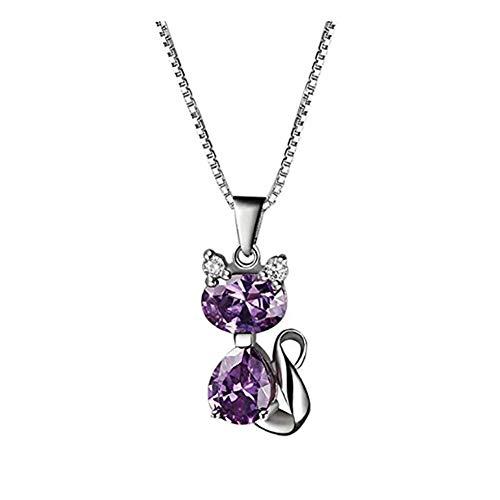 ZSML Amethyst Cat Pendant Halskette-S925 Sterling Silber Schmuck Cubic Zirconia - Halskette, Charms Ring, Geburtsstein