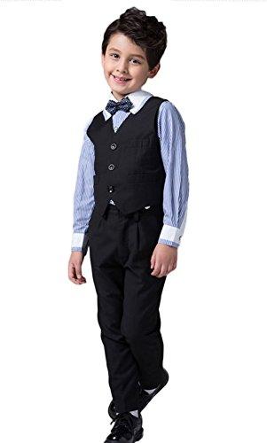 Icegrey Jungen 4 Stück Kleiner Gentleman Festlich gekleidet Weste Anzug Pagen Klage für Prom Hochzeit für besondere Anlässe Schwarz 2 Jahre (Husky Jungen Anzug)