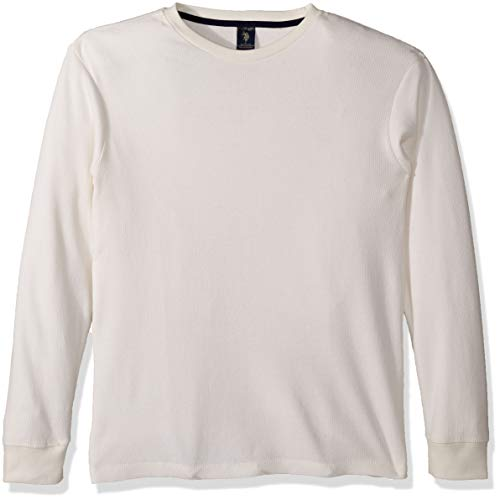 U.S. Polo Assn. Men's Long Sleeve Crew Neck Solid Thermal Shirt, White Winter, L - Mens Crew Neck Thermal