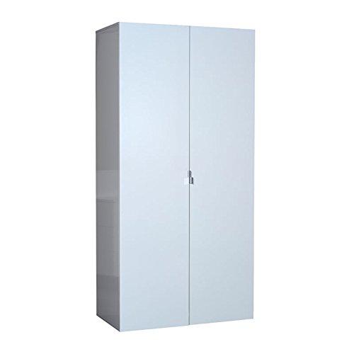 Tousmesmeubles Armoire 2 Portes Laqué Blanc - UNO - L 101 x l 54 x H 208 - Neuf