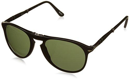Persol Herren PO9714S Sonnenbrille, Gestell: schwarz, Gläser: grün 95/31, Medium (Herstellergröße: 55)