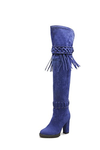 VogueZone009 Femme Tire Rond à Talon Haut Haut Élevé Bottes Bleu