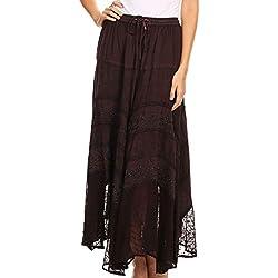 Sakkas 13222 Ivy Maiden Boho Skirt- Chocolate - Un tamaño Plus