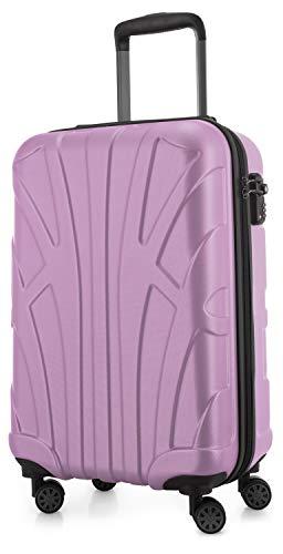 Suitline Handgepäck Hartschalen-Koffer Koffer Trolley Rollkoffer Reisekoffer, TSA, 55 cm, ca. 34 Liter, 100% ABS Matt, Flieder S20 Serie