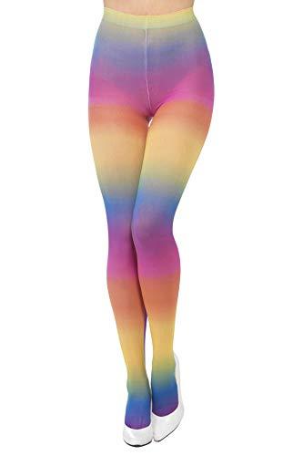 Smiffys Damen Blickdichte Strumpfhose, One Size, Regenbogen-Farben, Bunt, 44620