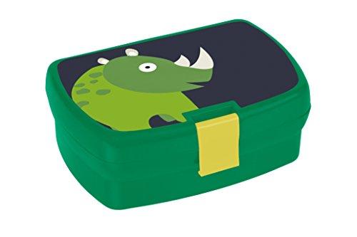 Lässig Kinder Lunch-box Brotdose Snackbox mit herausnehmbaren Fächern auslaufsicher und dicht, Wildlife Rhino
