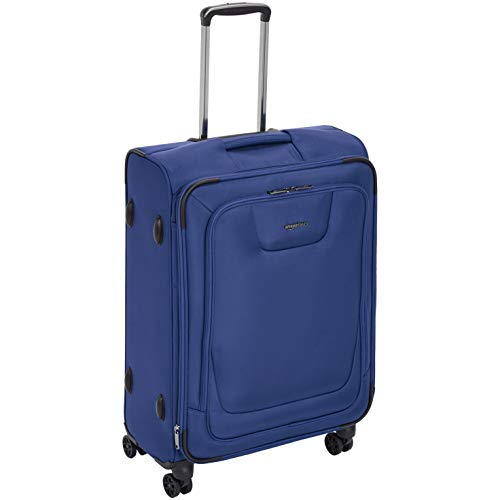AmazonBasics, Premium, valigia espandibile, morbida, con rotelle multidirezionali e chiusura TSA, 63,5 cm, Blu
