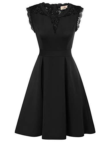 Robe Trapeze au Genou sans Manche à 'Audrey Hepburn' Classique Vintage 50's 60's Style Noir L CL870-1