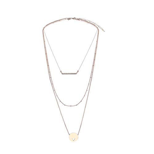 Tensay Classic Fashion Alloy Three-row Set Chain Geometric Pendant Multi-row Necklace Best Gift for Girls Women -