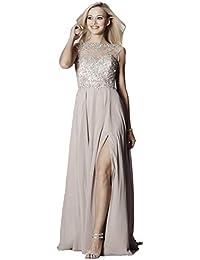 Tiffanys Illusion Prom Mocha Sunny Sheer & Crystal Chiffon Gown