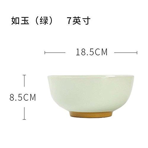 YUWANW Kreative Keramik 7-8 Zoll Schüssel Schüssel große Schüssel Schüssel Hand-Pulled Hand-Pulled Noodle Noodle Persönlichkeit Haushalt Europäische Schüssel Salat Schüssel, 7 Zoll von Jade (Grün)