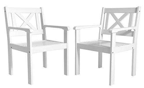 Ambientehome Garten Sessel Stuhl Massivholz Gartenmöbel EVJE, Weiß, 2-teiliges Set