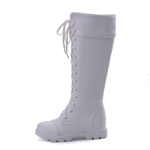 AllhqFashion Damen Niedriger Absatz Weiches Material Mitte-Spitze Rein Ziehen auf Stiefel, Weiß, 40