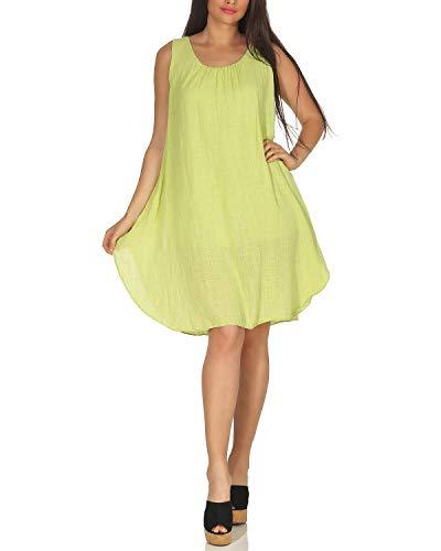 Kiwi Baumwolle Rock (ZARMEXX DK105 Damen Sommerkleid Schulterfreies Strandkleid Minikleid Freizeit Partykleid Kiwi One Size (36-42))