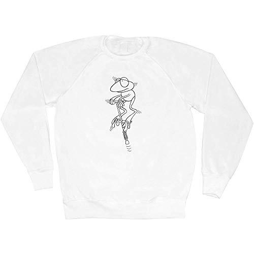 Azeeda Mittel 'Frosch auf einem Pogo-Stick' Unisex Sweatshirt / Pullover (SW00000254)