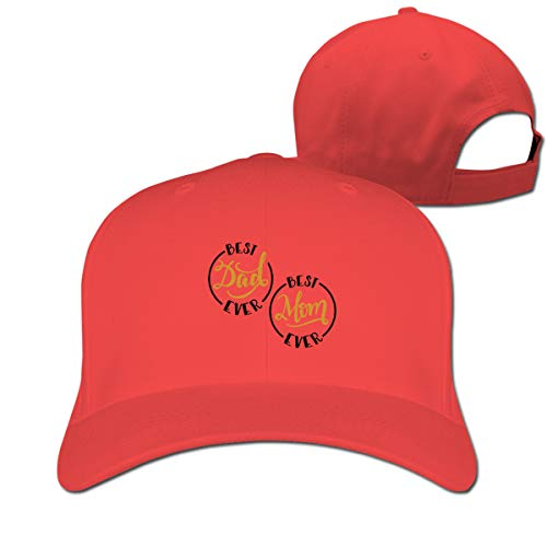 Unisex Baseball Cap, Best Mom and Dad Ever Custom Hat,Novel Hat,Casual Hat Snapbacks for Outdoor Indoor Sporting Red Custom Fit, Vintage-hut