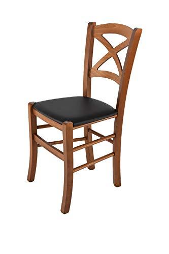 Tommychairs - sedia classica cross per cucina e sala da pranzo, robusta struttura in legno di faggio verniciata noce e con seduta rivestita e imbottita in ecopelle nera