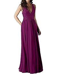 008b129e73a7 Victory Bridal Damen Modisch Bodenlang Abendkleid Ballkleid V-Neck Aermellos  Chiffon Spitze Applikation Strass…