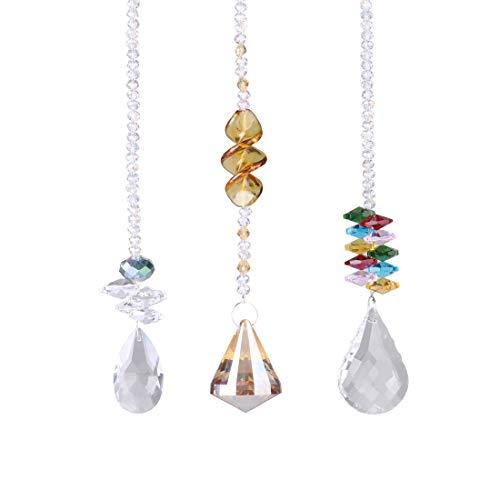 Cristal atrapasueños, Cristal, Gota de Prisma, arcoíris para Colgar Ventana, Sol, con Cuentas de ocatgón, Caja de Regalo, Paquete de 3