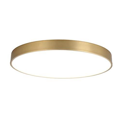 DXQWAN LED-Deckenleuchte alle Kupfer ultradünne runde Wohnzimmer Schlafzimmer Zimmer Licht dreifarbigen Dimmmodus/Objektiv LED-Lichtquelle / 3 Lampen / E27,Gold,40CM