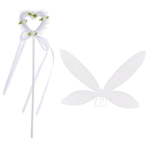 Kostüm Schmetterlingsflügel Weiße (Blesiya Weiß Erwachsene Kinder Engel Kostüm Set, (Waldelfenstab Stab +)