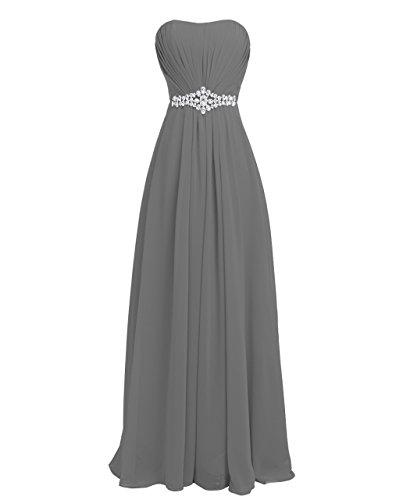 Fashion Plaza chiffon lange Trägerlosen Abendkleid mit einer schönen Gürtel Modul D004 (EU42, Grau) (Kleid Chiffon Trägerlosen)