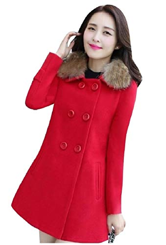 CuteRose Women Double Button Jackets Removable Collar Worsted Coat Red L Womens Wool Toggle
