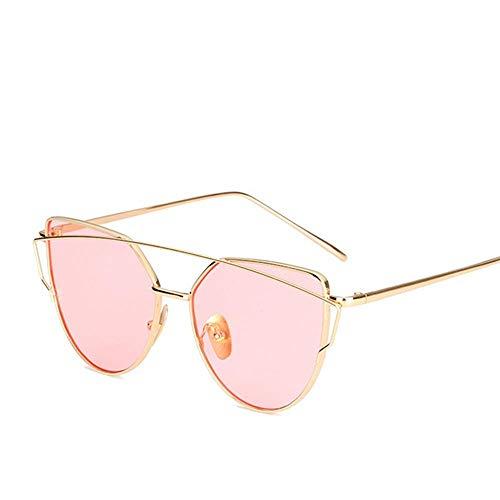 ZHOUYF Sonnenbrille Fahrerbrille Vintage Rose Gold Verspiegelte Sonnenbrille Frauen Metall Reflektierende Flugzeug Objektiv Sonnenbrille Damenbrille, Ich