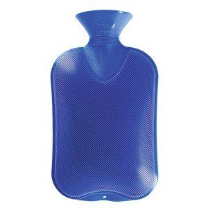 Fahsy 5699.3 Wärmflasche 1er Pack ~ Thermoplast- Wärmeflasche Doppellamelle, geruchsneutral, recyclingfähig, robust und langlebig, fugenloser, schmaler Flaschenhals ~ 2,0 Liter, blau