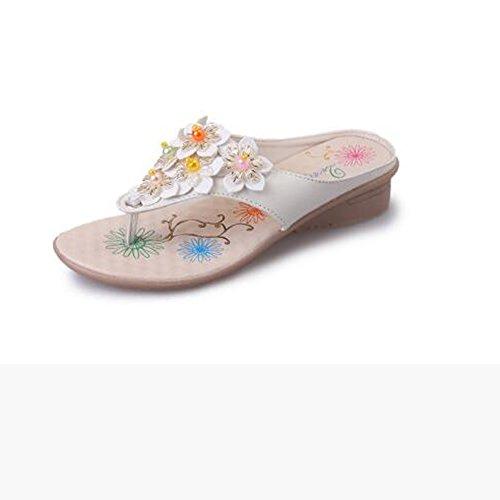Donne sandali Pantofole femminili / Sandali estivi di primavera / Comodità Pantofole a basso tacco in pelle Giallo blu bianco Confortevole ( Colore : Bianca , dimensioni : EU39/UK6.5/CN40 ) Bianca