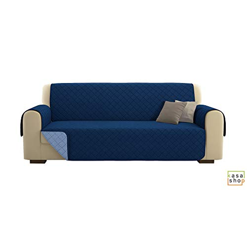 Kasashop copridivano/salvadivano deluxe imbottito, reversibile doubleface copertura divano (blu, divano 4 posti)