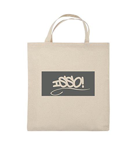Comedy Bags - ISSO NEGATIV - Jutebeutel - kurze Henkel - 38x42cm - Farbe: Schwarz / Silber Natural / Grau
