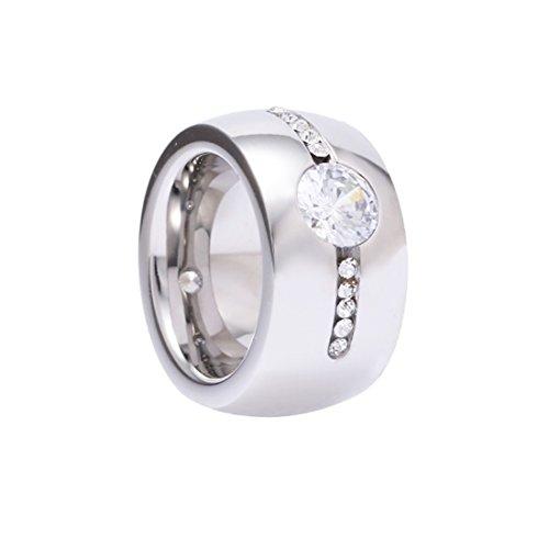 Ring Rush Edelstahl Ringe Damen strass frauen Schmuck silber gold ring Stein breite Breite Massive Rose M/19