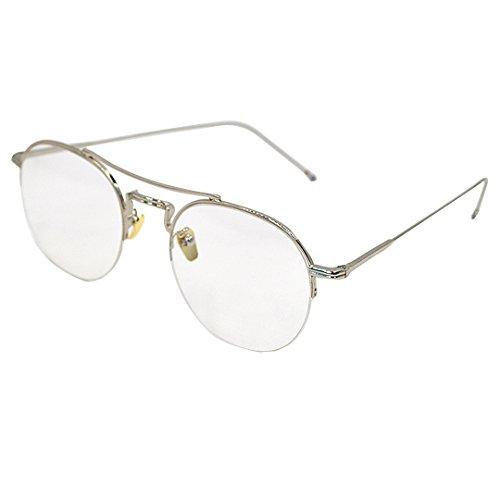 7a38ae0a07 Milya Unisex Rund Halbbrille Metall Retro-60er Jahre Stil Brille Vintage  Brille Ohne Stärke Metallrahmen