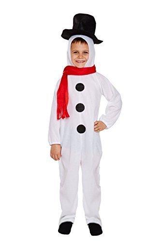Kinder Festive Weihnachts Schneemann Kinder Kostüm Kostüm - 7-9 (Zubehör Schneemann Kostüm)