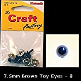 Craft Factory Toy Eyes for Crafts 7.5mm Brown