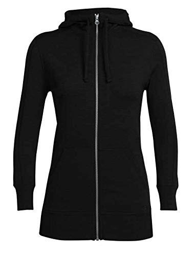 Icebreaker Damen Merino Dia Long Sleeve Zip Hooded Athletic Sweater, Damen, Women's Dia Long Sleeve Zip Hood, schwarz, Medium