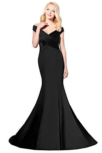 Abendkleider Lange Off Schulter Satin Formelle Kleid Backless Sweep Meerjungfrau Ballkleid Black 46W - Meerjungfrau Eine Schulter Sweep