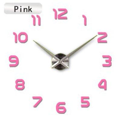 HONGYUANZHANG Große Uhr Uhren Wanduhren Spiegel Aufkleber Dekoration Wohnzimmer Quarz Nadel (70-130 cm) Rosa