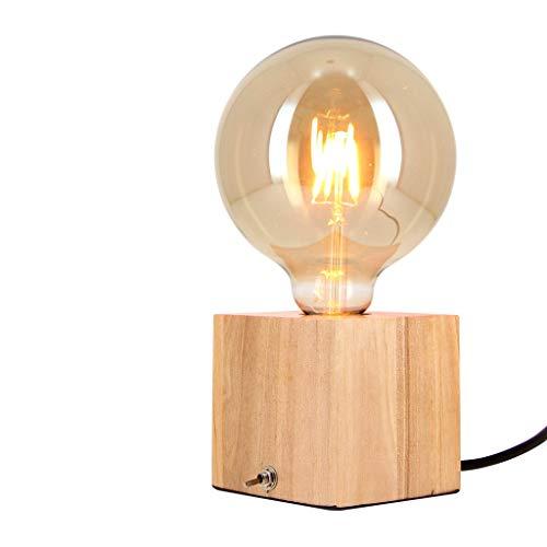 Xanlite | CDEB01B125F, Lampe à poser cube en bois + ampoule globe G125 Vintage incluse