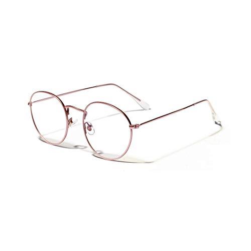 Frauen-runde Retro- kleine Brillengestell, klare Linse, Kostümparty. Brille (Farbe : Rosa)