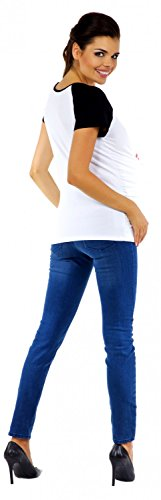 Zeta Ville Maternité - Tee shirt de grossesse motif humour imprimé - femme 575c White & Fuchsia