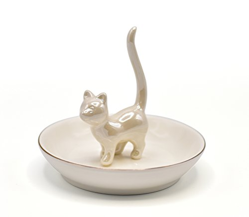 Ceramic Kitty Ring Holder Dish and Tray for Jewelry Porcelain Jewelry Tray Trinket Plate (White)